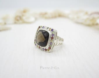 Smoky Topaz and multiple cut stones Sterling Silver Ring (Size 7)