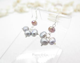 Purple Fresh water Pearl Sterling Silver Dangle Earrings
