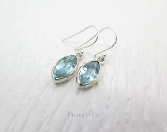 Marquise 10 Carats Blue Topaz Sterling Silver Earrings