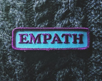 "Empath Patch - Sensitive Intuitive Fashion Accessory - 3"" Iron On Embroidered Patch - Tear Drop Blue - Shy Introvert Conversation Starter"