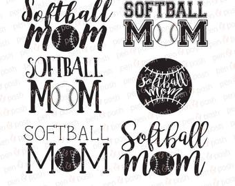 Softball Mom SVG - Softball SVG - Softball Mom Dxf - Softball Mom   - Softball Mom Clipart - Softball Mom Cut Files