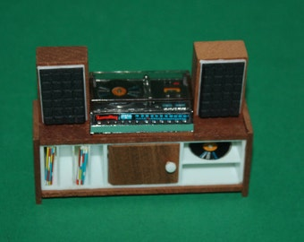 Vintage Dolls House Lundby Stereo Record Player Music Centre & Speakers