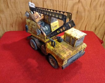 Vintage Mighty Tonka Crane Truck Early Very Rustic Child's Toy