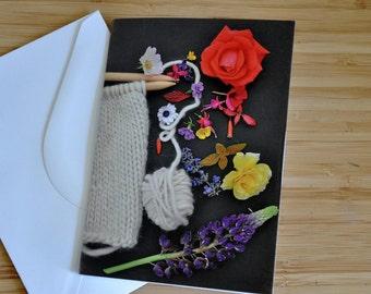 Greeting card - spring {wool & flowers}