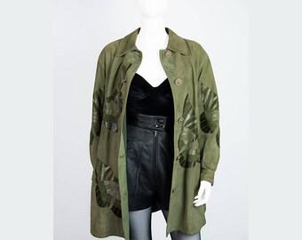 Borboleta-green leather coat with butterflies