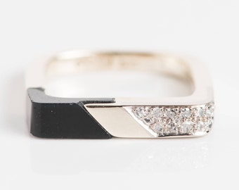 Estate Black Oynx Art Deco Wedding Band