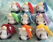 Crochet Mini Rainbow Colorful Unicorn Mythical Magical Fantasy Cute Animal Amigurumi Plush Made To Order