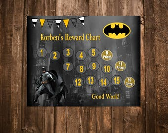 Batman Superhero Themed Reward Chart - Digital PDF Files - Also Available Spider Man, Avengers, Mickey Mouse, Shrek, Toy Story, & More!