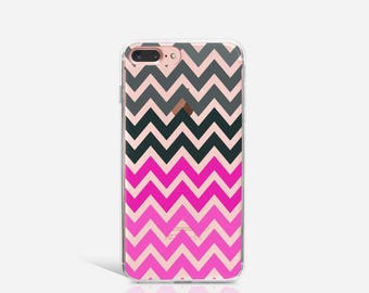 Chevron iPhone 7 Case Clear iPhone Case iPhone 7 Plus Case iPhone 6 Case For iPhone 6S Case Birthday Gift For Her iPhone Phone Cover - KT203