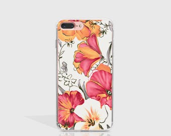 Floral iPhone 7 Case Clear iPhone Case iPhone 7 Plus Case iPhone 6 Case For iPhone 6S Case Birthday Gift For Her iPhone Phone Cover -KT371