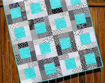 Turquoise Baby Boy Quilt, Black and White Boy Quilt, Turquoise Baby Quilt, Baby Boy Quilt, Boy Nursery Bedding, Black and White Crib Blanket