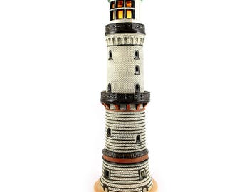 Hand made ceramic lighthouse candle holder - Warnemunde