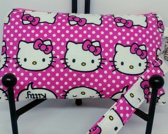 Hello Kitty Wristlet Wallet-Pink-Cat Clutch-Zippered Pouch-OOAK-Ready to Ship
