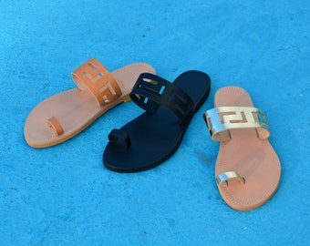Wholesale only, Greek Leather Sandals, Meander Sandals, Ancient Greek Sandals, Greek Sandals, Leather Slides Sandals, Greek Key