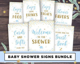 Baby Shower Boy Printable Decor, Blue and Gold Baby Shower Decorations, Signs and Banners, Cards and Gifts, Favors, Food, Drink, Table Sign