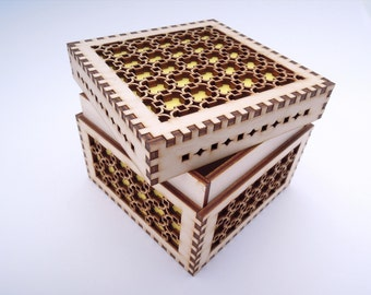Wooden Box for Jewelry for Crafts - Laser Cut