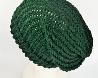 Green summer beanie, slouchy beanie, boho slouch hat, green knit hats, bottle green hat, slouchy hat woman, hat for dreads, bohemian beanie