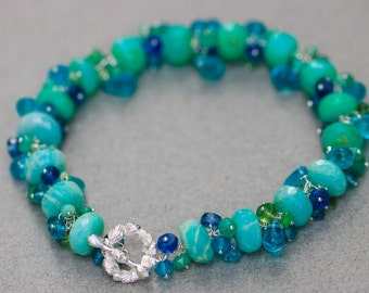 Peruvian Opal Bracelet, Blue Opal Bracelet, Amazonite Bracelet Cluster Gemstone Bracelet Wrapped Bracelet Green Bracelet, Statement Bracelet