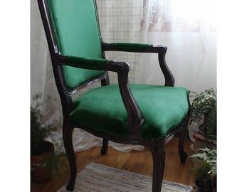 Green Velvet French Louis Arm Chair