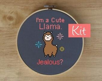 Modern Funny Cross Stitch Kit, Embroidery Kit - Animal Cross Stitch, Llama, Alpaca Counted Cross-Stitch Kit - Silly, Funny, Happy, Cute