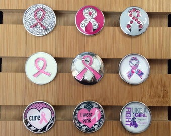 Snap Charms Hope, Cure, Pink Ribbon, Fibromyalgia Snap Charms for Snap Jewelry.  Fits 18-20mm Gingersnaps, Noosa, Magnolia & Vine