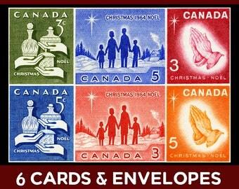 Canada Christmas Cards, vintage Christmas card set, Christmas blessings, Christmas family, Christmas story, Christmas card set, xmas cards