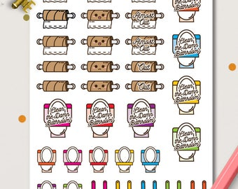Toilet Cleaning Planner Stickers | Chores stickers | Toilet Stickers | Toilet paper | Bathroom Cleaning