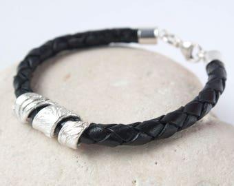Men's Black Leather Silver Bracelet,  Leather Cord Bracelet, Men's Silver Braided Leather cord Bracelet, Men's Jewellery, Men's Bracelet