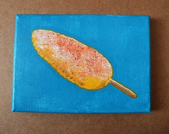 Elote Original Acrylic Canvas Painting 7x5 inches