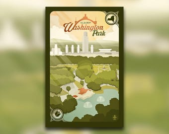 Albany, NY Washington Park Print - New York Poster - City of Albany Empire State Plaza - Capital District Park - Wall Art Graphic Design