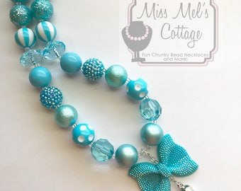 Beautiful Shades of Turquoise/Blue/Ombre' Chunky Bubblegum Beads Necklace with Rhinestone Bow and Tassel