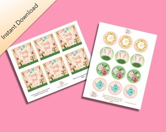 Wonderland Party Packet, Alice's Adventures in Wonderland by Lewis Carroll Inspired Cupcake Toppers & mini thank you cards, Digital Download