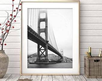San Francisco Print, Black And White Photography, Bridge Printable, Digital Download, Minimalist Decor, Office Print, Golden Gate Bridge
