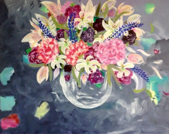 Painting, art, acrylic on canvas, floral, flowers, uplifting, beauty in art,