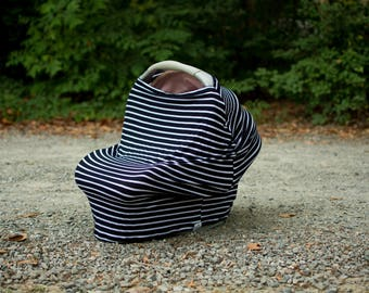4 in 1 - carseat cover - nursing cover - shopping cart cover - highchair cover - navy and white - stripe print