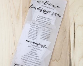 Confetti or Petal Stuffed Envelope Wedding Programs -- Custom Calligraphy hand printed vellum envelopes filled with flower petals, confetti
