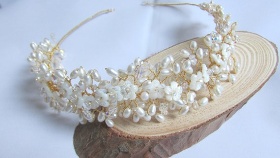 Pearl and Crystal Flower Bridal Headpiece