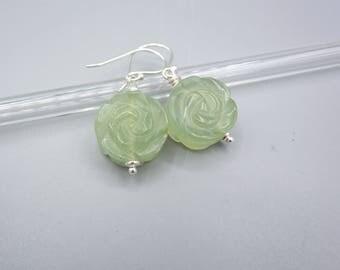 Jade Earrings, green Stone Earrings,  carved Stone Earrings, carved Rose Earrings, 925 Silver