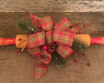 Vintage Rolling Pin With Boughs, Pine Cones & Berries