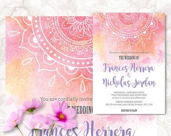 Indian Wedding Cards Printable Invitation Boho Henna Theme Digital File