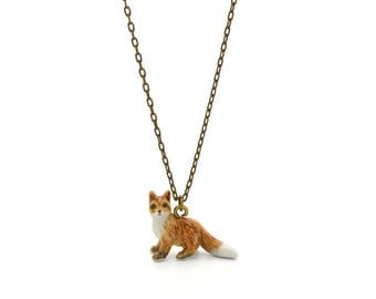 Tiny Red Fox Charm Necklace, Hand Sculpted/Painted Figurine, Ceramic Animal Pendant & Chain ()