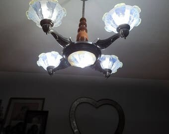 French Antique Art Deco Chandelier Metal & opalescent crystal signed Ezan five lights 1930 era
