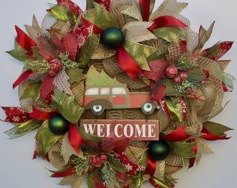 Farmhouse Christmas Wreath, Rustic Christmas Truck Wreath, Country Christmas Wreath, Christmas Wreath, Rustic Christmas Wreath, Winter Wreat