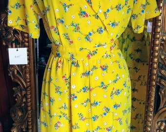 Vintage Andrea Gayle Petites Bright Yellow Floral Dress Size 12