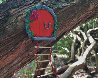 Red Fairy Door With Embroidery Silk Rope Ladder
