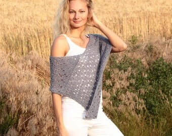 Summer poncho gray poncho lace poncho boho chic clothing nursing cape nursing top maternity poncho gray coverup lightweight poncho womens