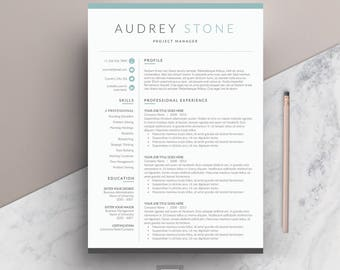 Resume Template 4 page | CV Template + Cover Letter for MS Word | Instant Digital Download | 'Audrey'