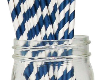 Navy Striped Paper Straws, Party Supplies, Party Decor, Bar Cart Cake Pop Sticks, Party Graduation