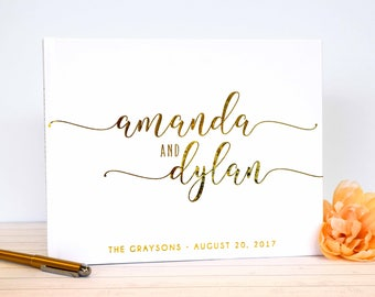 Real Gold Foil Wedding Guest Book landscape horizontal Gold foil Guest Books Custom Guestbook Modern Wedding Script Wedding - white