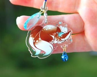 Maple the Snow Wolf - Acrylic Charm 1.5 Doublesided Dragon Wolf Furry Keychain or Cellphone Strap